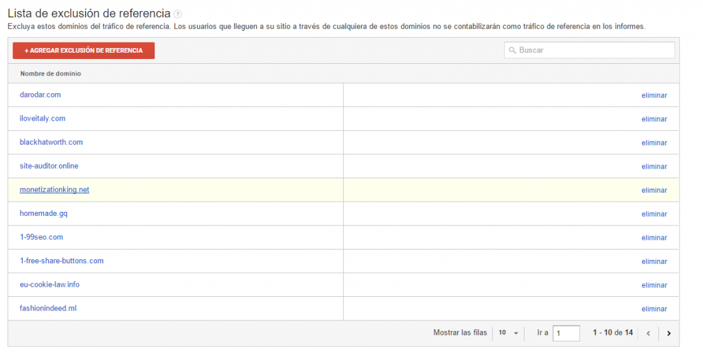 lista exlusion google analytics